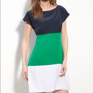 Eliza J Color Blocked Dress (White, Tan, Orange)